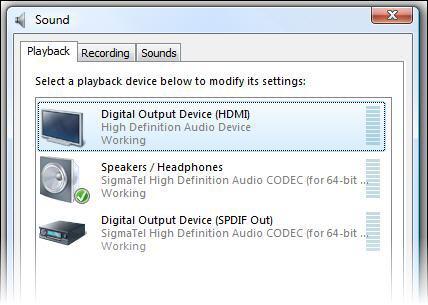 HDMI and SPDIF inputs in Windows Vista
