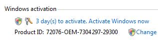 Windows Vista deactivated by an Intel driver