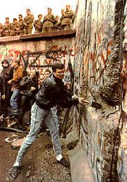 breaking down the Berlin Wall in 1989