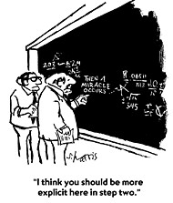 """New Yorker cartoon by Stanley Harris, """"Then a miracle occurs"""""""