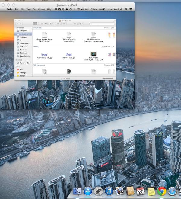 Air Display desktop on Mac