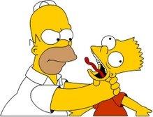 Homer choking Bart, from The Simpsons, Fox TV