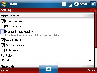 Opera Mini 4 settings