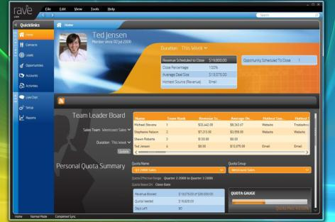Screenshot of Rave homepage showing leader boards