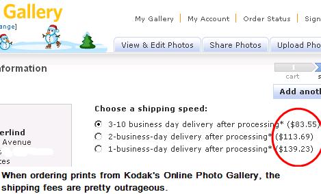 Kodak Online Shipping Charge