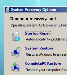 Recovery menu - click to enlarge