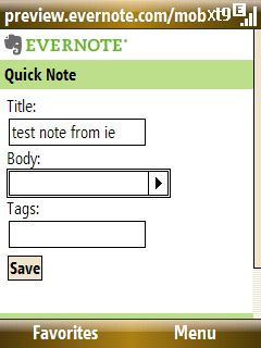 Evernote Mobile on Shadow