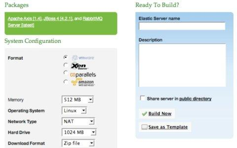 ESOD screenshot showing virtual server configuration and deployment choices