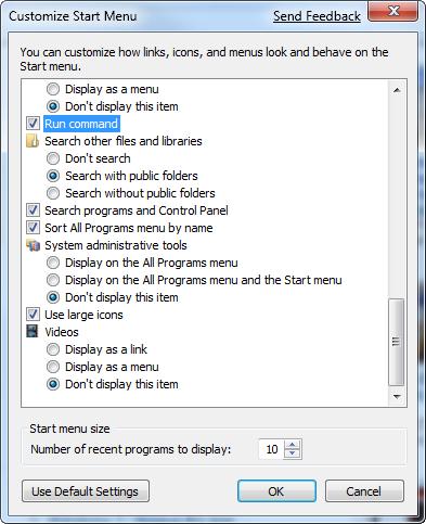 Customize the Vista/Windows 7 Start menu to add the Run box