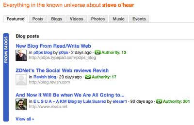 Technorati search results