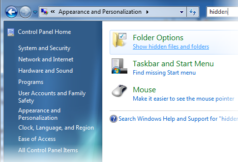 Another example filtering the Control Panel options in Windows Vista and Windows 7