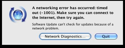 Psystar: AppleÂ's Software Update throws a (-1001) error