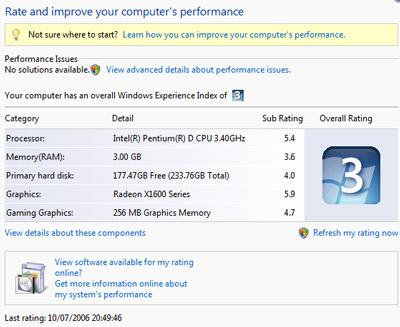 Vista's Windows Experience Index