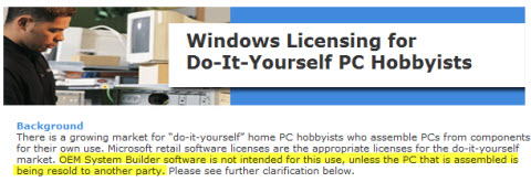 Windows Licensing for Do-It-Yourself PC Hobbyists, web page from Microsoft.com