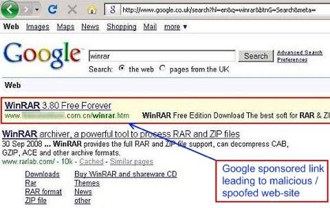 Google sponsored links spreading (scareware) rogue AV