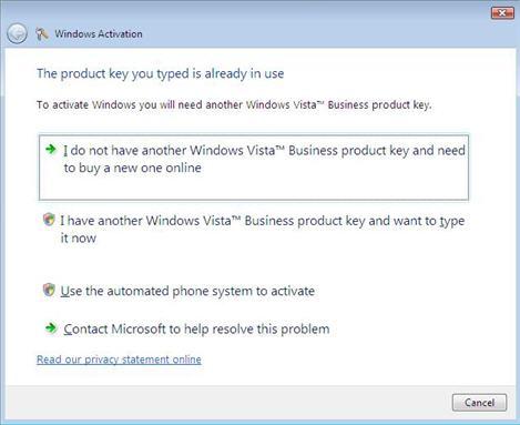 windows vista activation screen