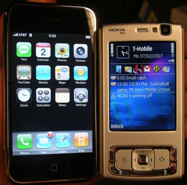 Apple iPhone and Nokia N95