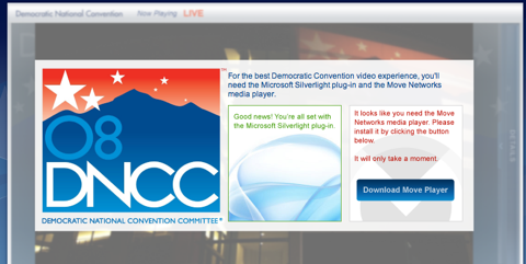 Democratic national convention site requires Silverlight and Move
