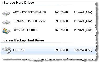 Windows Home Server data backup in Power Pack 1