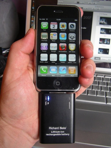 RichardSolo Smart Backup Battery charges your iPhone on the go with standard mini USB