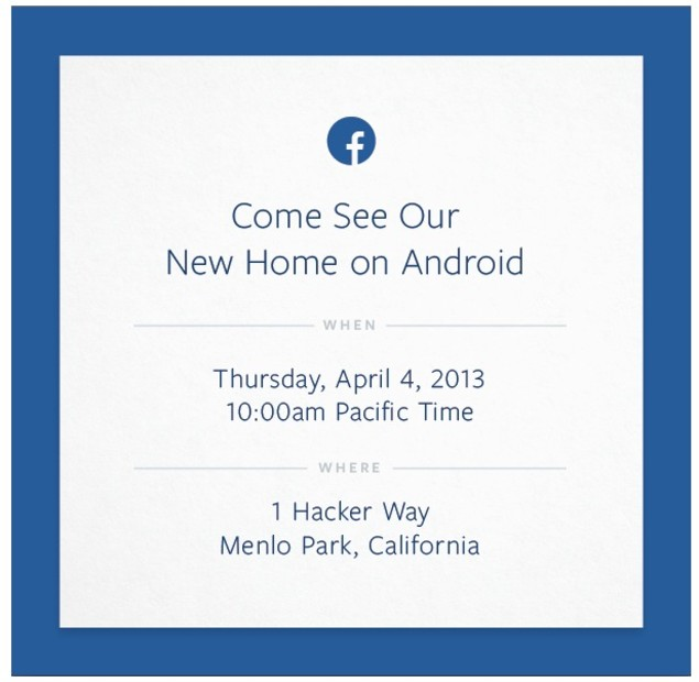 """Facebook's """"Come See Our New Home On Android"""" invitation."""
