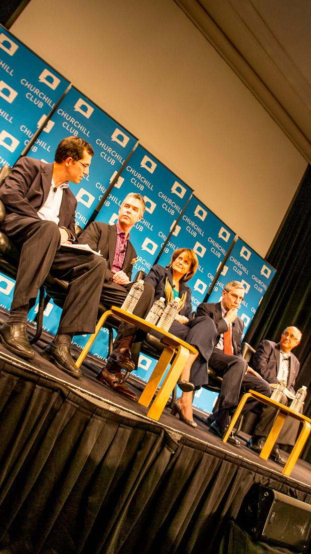 From left: Peter Burrows, Eric Brown, Mary Dent, Richard Edelman, Jeffrey Pfeffer.
