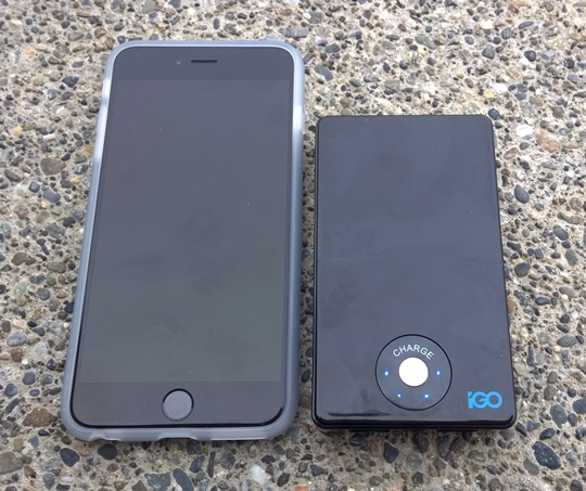 The iPhone 6 Plus compared to the PowerTrip 10000