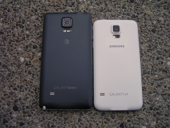 Back of the Galaxy Note 4 and Galaxy S5