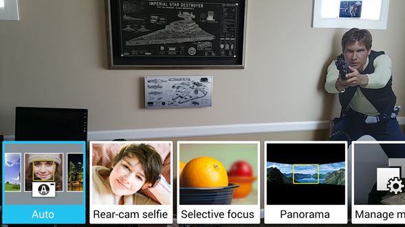 Simple access to camera modes