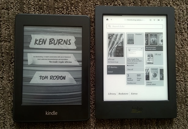 Front of Kindle Paperwhite and Kobo Aura H2O