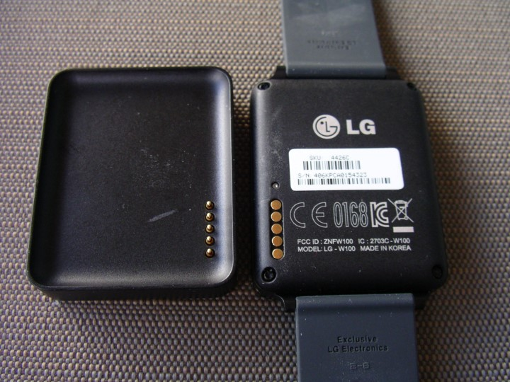 Back of the LG G Watch, with dock
