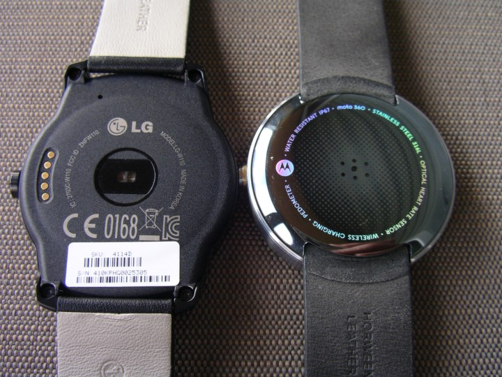 Back of the LG G Watch R and Moto 360