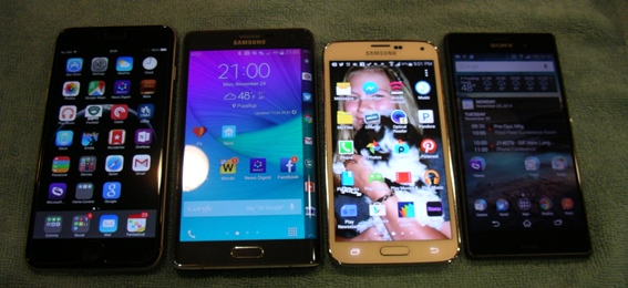 iPhone 6 Plus, Note Edge, Galaxy S5, and Xperia Z3