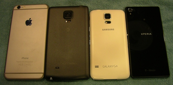 Back of the iPhone 6 Plus, Note Edge, Galaxy S5, and Xperia Z3