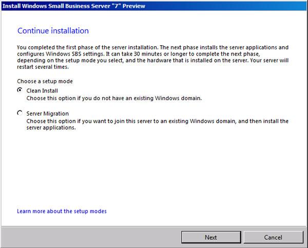SBS standard install mode