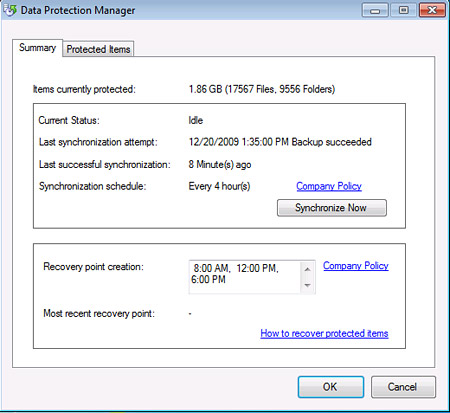 End users can easily see how the backups of their machines are going.
