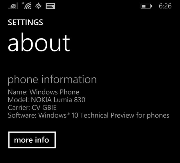 Windows 10 preview for phones, installed
