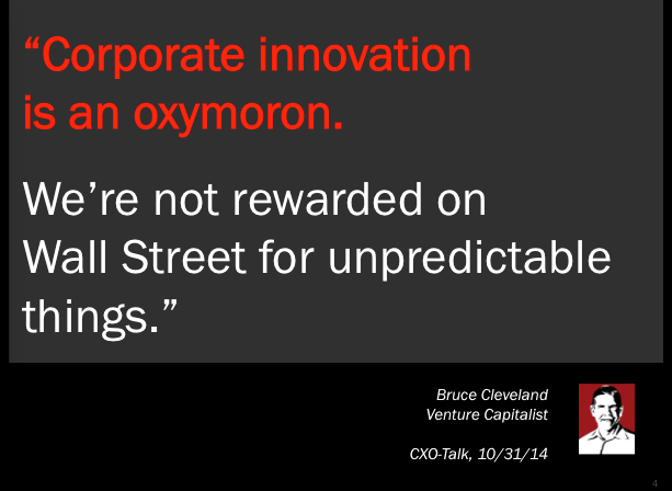 """""""Corporate innovation is an oxymoron"""""""