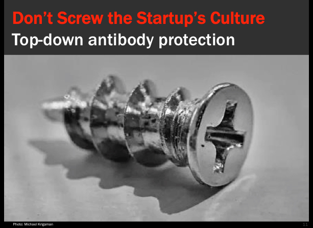 Don't screw the startup's culture