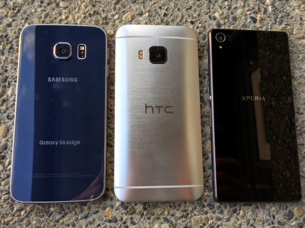 Back of S6 Edge, HTC One M9, Sony Xperia Z3