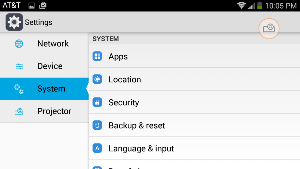Settings area of the ZTE Spro 2