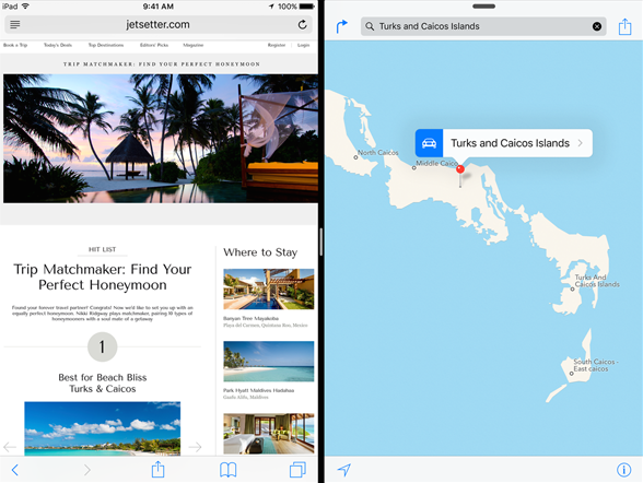 Split-screen mode for iPads