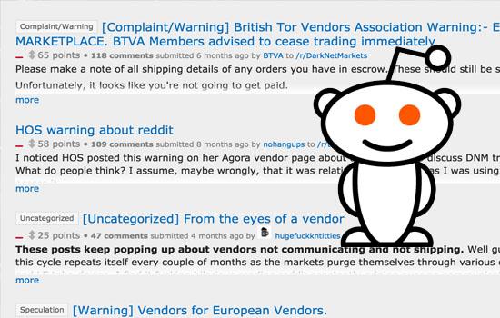 Reddit is used as a communication platform for Dark Web transactions