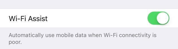Wi-Fi Assist toggle