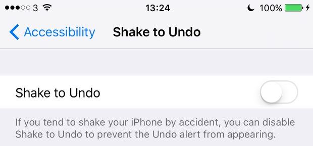 iOS 9 disable shake to undo