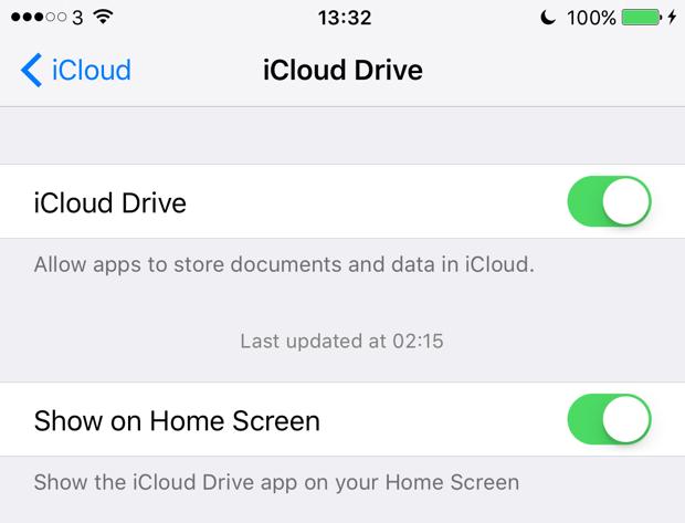 iOS 9 iCloud Drive app