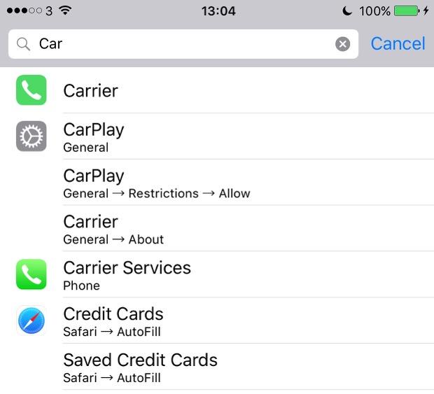 iOS 9 Searchable Settings