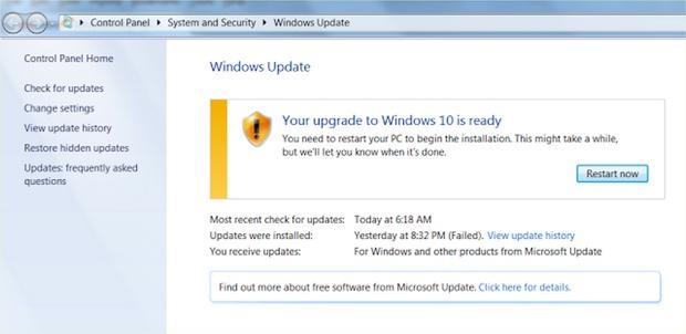 Windows 10 update nag screens