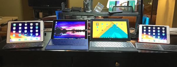 4 work tablets on my desk