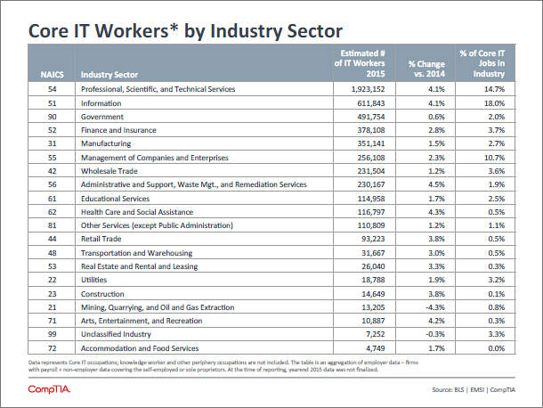 IT workers by segment